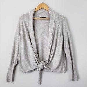 H by Halston Grey Asymmetrical Tie Open Cardigan